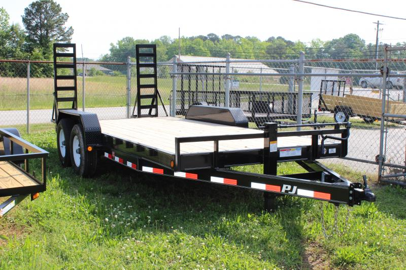 PJ TRAILERS 6X18 CHANNEL EQUIPMENT VIN#4P5CC1821D3002768  2-7000# AXLES 2' DOVETAIL 5' FOLD OUT RAMPS
