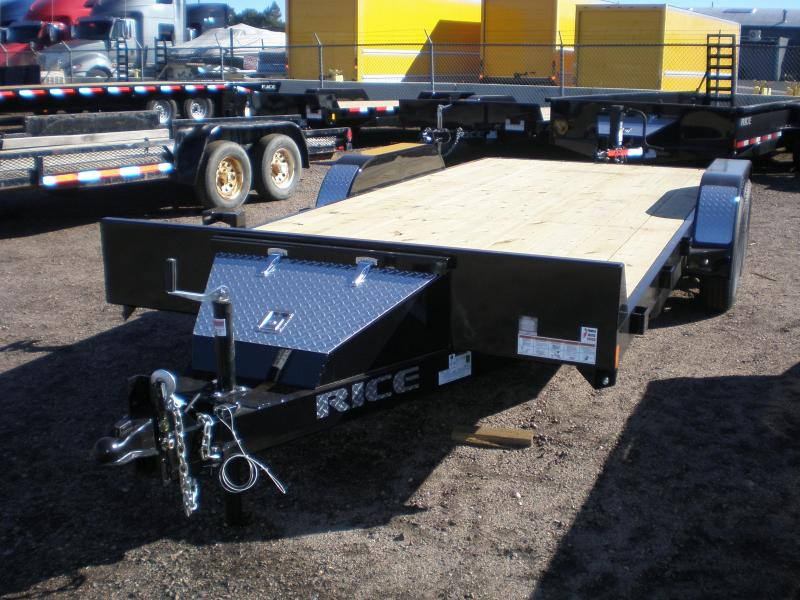 2018 Rice 7X18 Flatbed Car Hauler Trailer
