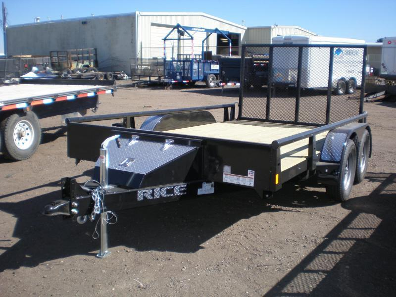 2018 Rice 82x12 Tandem Utility w/Pipe Top Rail