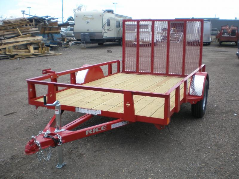 2017 Rice RS 76x12 Utility Trailer W/Gate RED