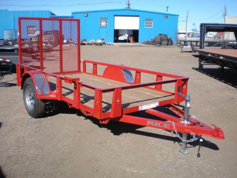 2017 Rice 76x10 Utility Trailer w/Ramp Gate-RED