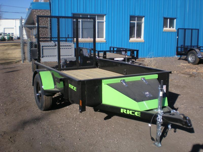 "2017 Rice ""Stealth"" 5x8 Utility Trailer - Green Accents"