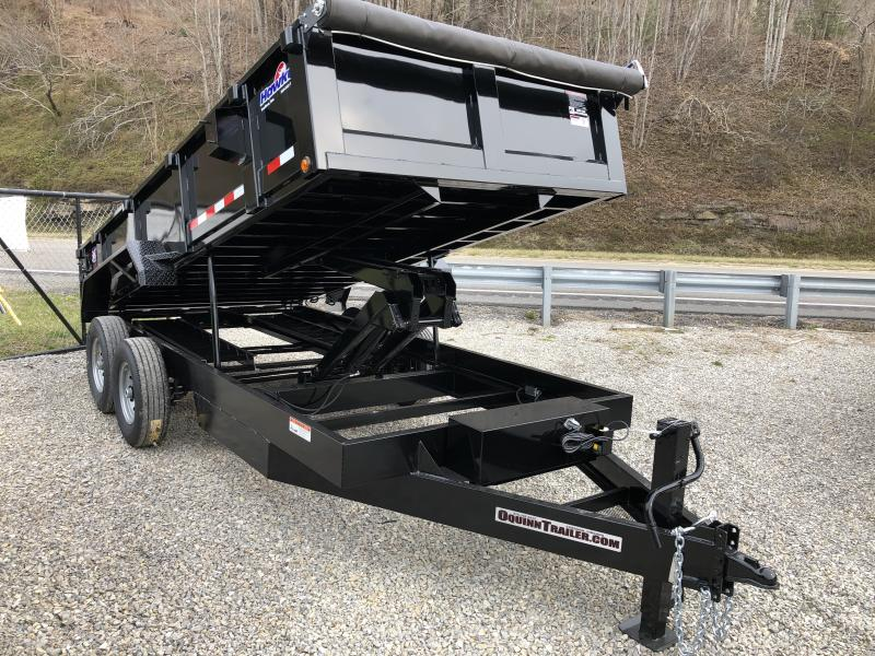 2019 Hawke Trailers 7X16 15k BUMPER PULL WITH TARP Dump Trailer