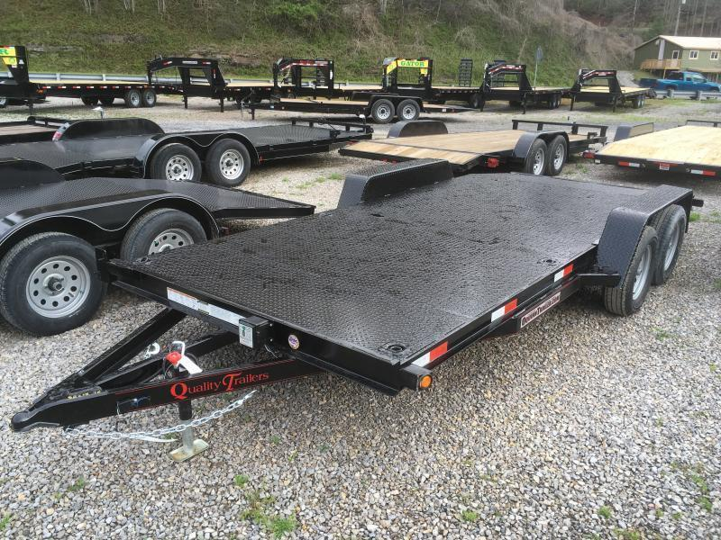 2019 Quality Trailers 82x18 steel car hauler left removable fender 4brk Car / Racing Trailer