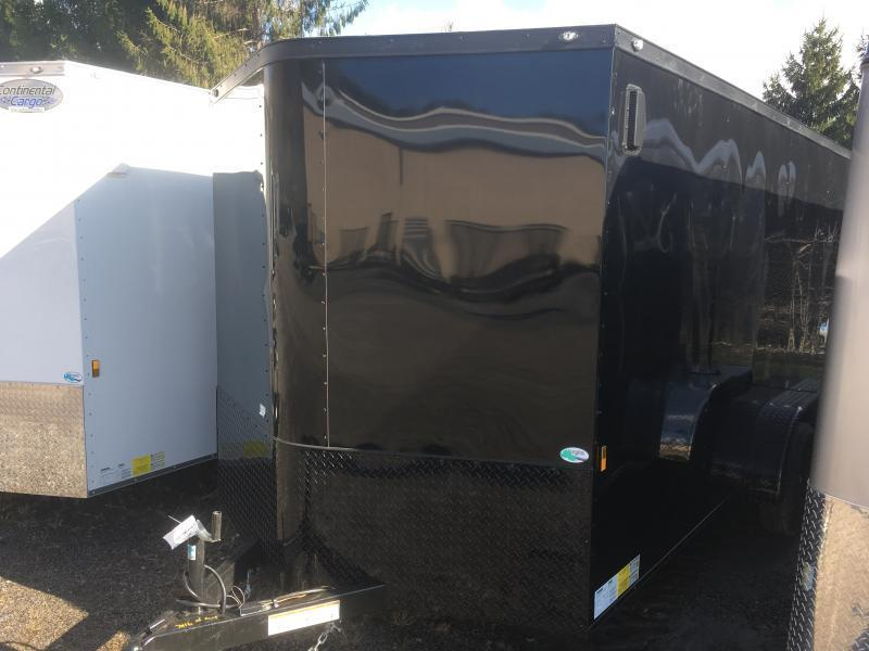 2020 Continental Cargo 7x16 vnose black out sd ramp door Enclosed Cargo Trailer