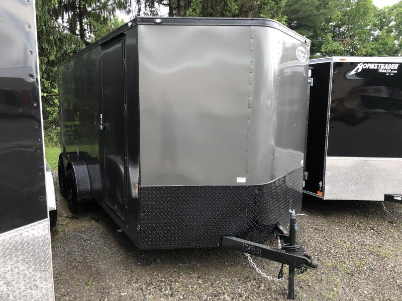 2020 Continental Cargo 7x16 vnose charcoal w/black out sd ramp door Enclosed Cargo Trailer