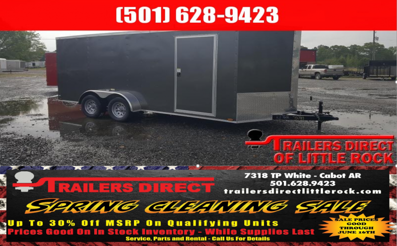 BLOWOUT!! 2018 Doolittle Trailer Mfg Razorback 7X16TA Charcoal Barn Door Enclosed Cargo Trailer