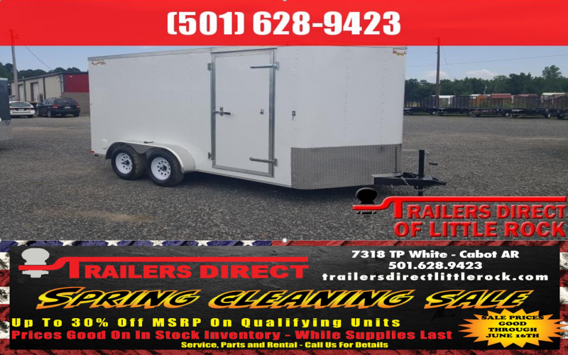 BLOWOUT!! 2018 Doolittle Trailer Mfg Bullitt 7x14TA White Ramp Door Enclosed Cargo Trailer