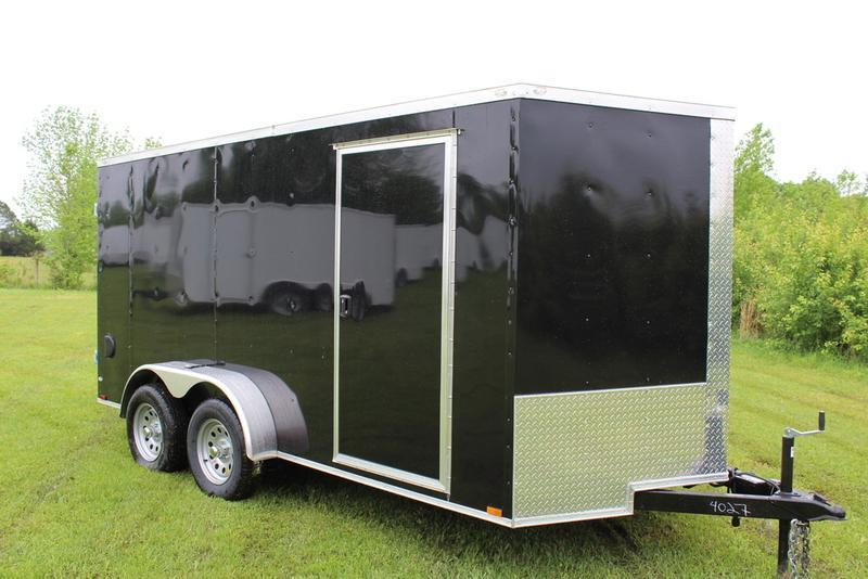 2017 Quality Cargo 7X16TA BLACK BARN DOOR
