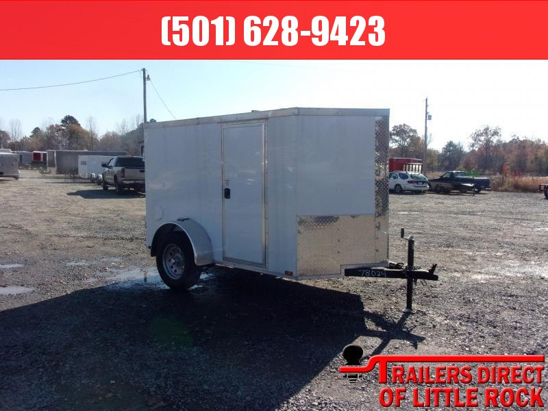 2019 Doolittle Trailer Mfg Razorback 5x8SA White Barn Door Enclosed Cargo Trailer