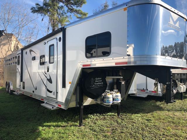 2018 Merhow Trailers 8 wide 11lq slide midtack w/14' stock area Livestock Trailer