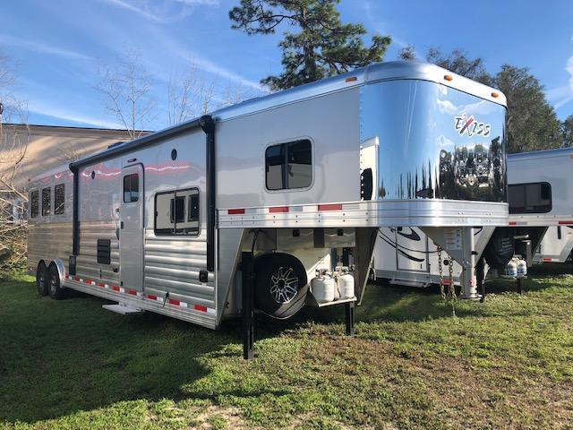 2019 Exiss Trailers 8 wide 3 horse w/14 lq sofa &dinette Horse Trailer