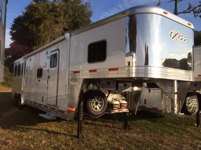 2015 Exiss 8 wide 3 horse with 12' living quarters and slide Horse Trailer