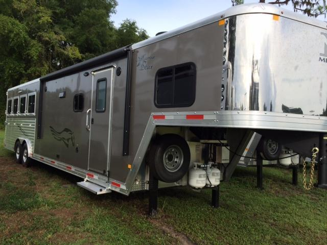 2015 Merhow Trailers 8 wide 4 horse with 12' living quarters and slid Horse Trailer