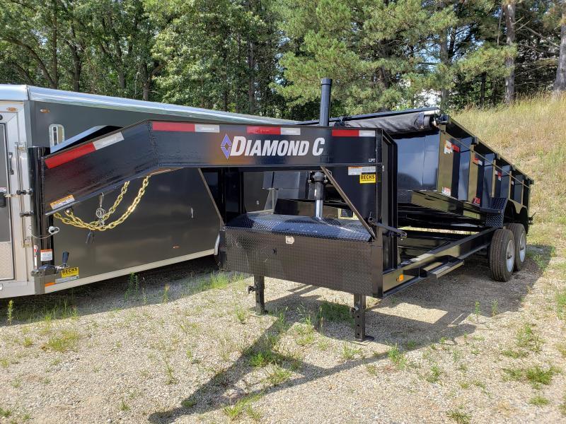 "New Diamond C 82"" x 16' Low Pro Gooseneck Dump Trailer w/ 10K Axles + Telescopic Lift"