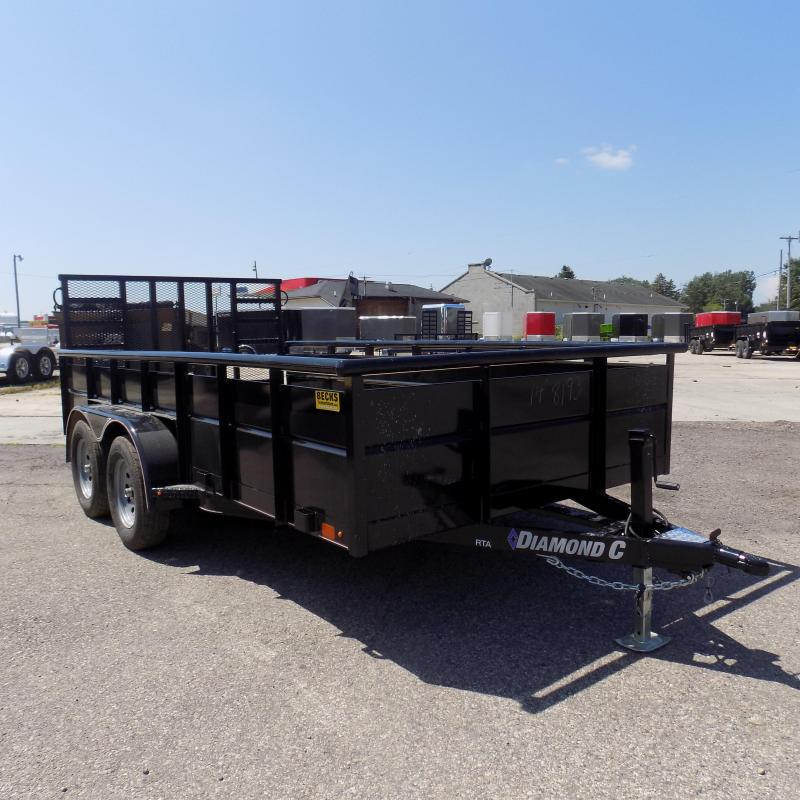 "New Diamond C Trailers 83"" x 14' High Side Utility Trailer With Heavy-Duty Ramp Gate"