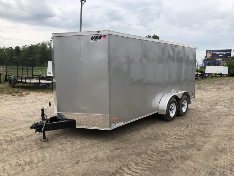 USA 7X16 V-Nose Ramp Door Enclosed Cargo Trailer Silver