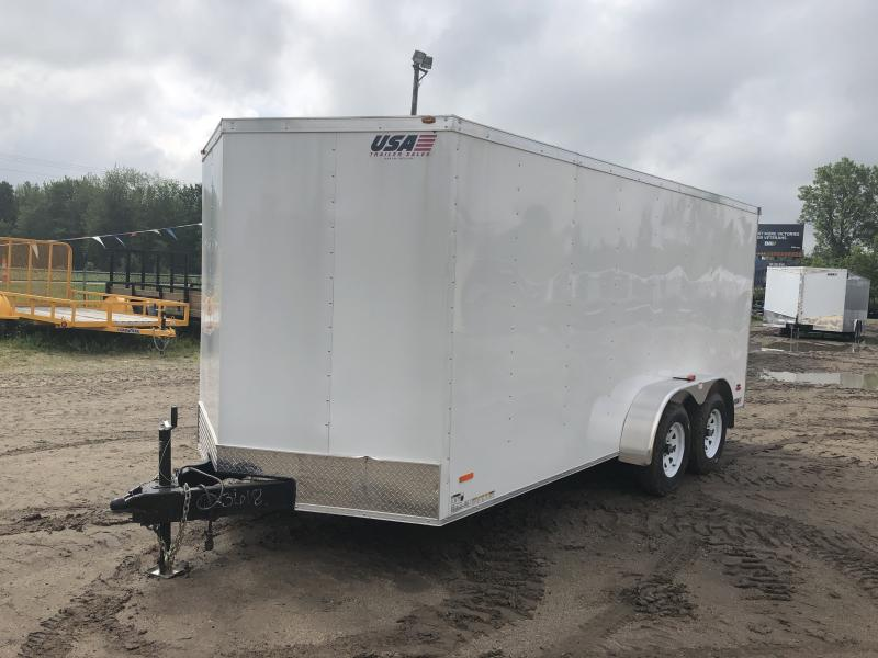 USA 7X16 V-Nose Ramp Door Enclosed Cargo Trailer White