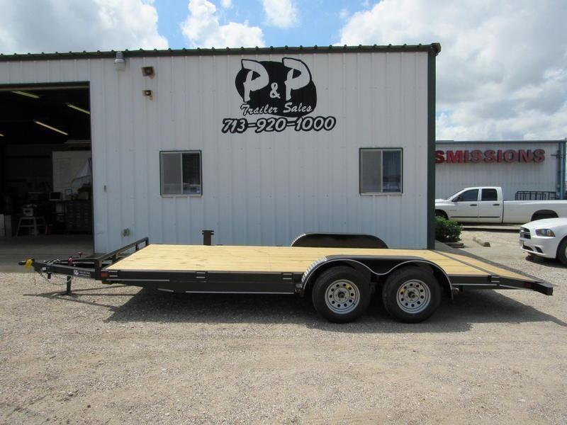 2018 P and P 83 X 18 Wood Floor Car Hauler 18' Flatbed Trailer