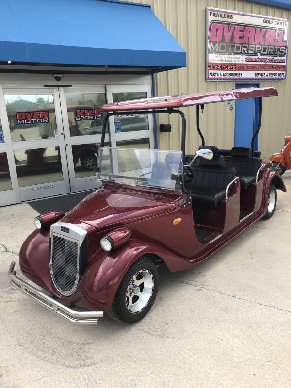 2015 StarEV Roadster 48V Electric Golf Cart Street Legal 6 Pass - Burgundy