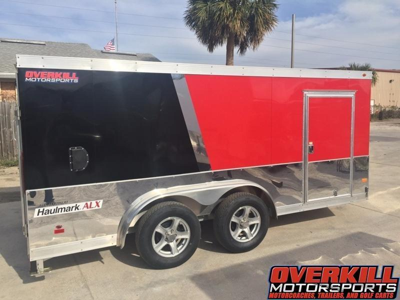 2016 Haulmark 7.5 X 14 ALX Aluminum V-Nose Low Hauler Motorcycle Trailer Black/Red