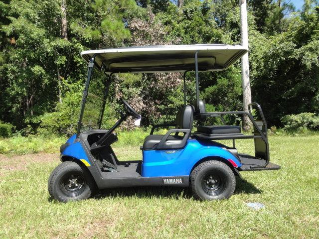 2020 Yamaha Drive 2 QuieTech EFI Gas Golf Cart 4 Passenger Blue w/ Black Seats