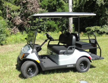 2020 Yamaha Drive 2 QuieTech EFI Gas Golf Cart 4 Passenger Silver w/ Black Seats