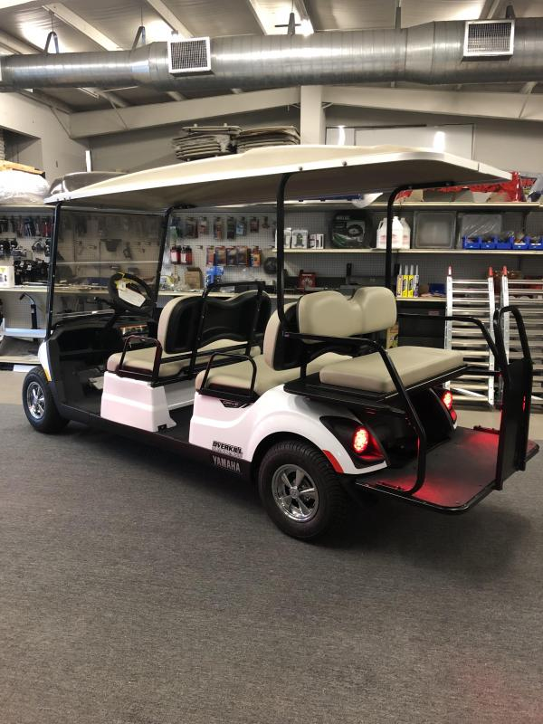 2018 Yamaha Drive 2 Fuel Injected Gas Golf Cart 6 Pass Concierge - White