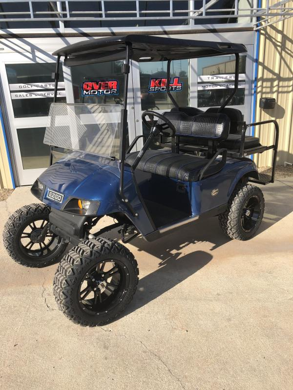 2008 E-Z-GO TXT Electric Lifted Golf Cart 4 Passenger w/ Custom Crocodile Seats Blue
