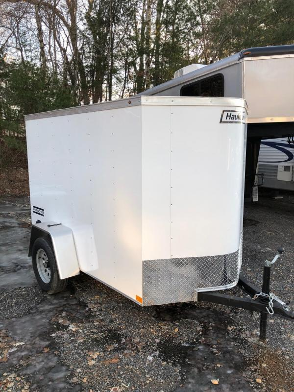 2019 Haulmark Passport 5X8 Enclosed Cargo Trailer w/ RAMP - White