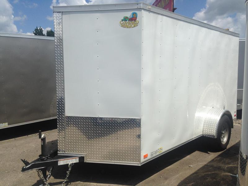 6x12 Enclosed Cargo Trailer-Double Doors-White