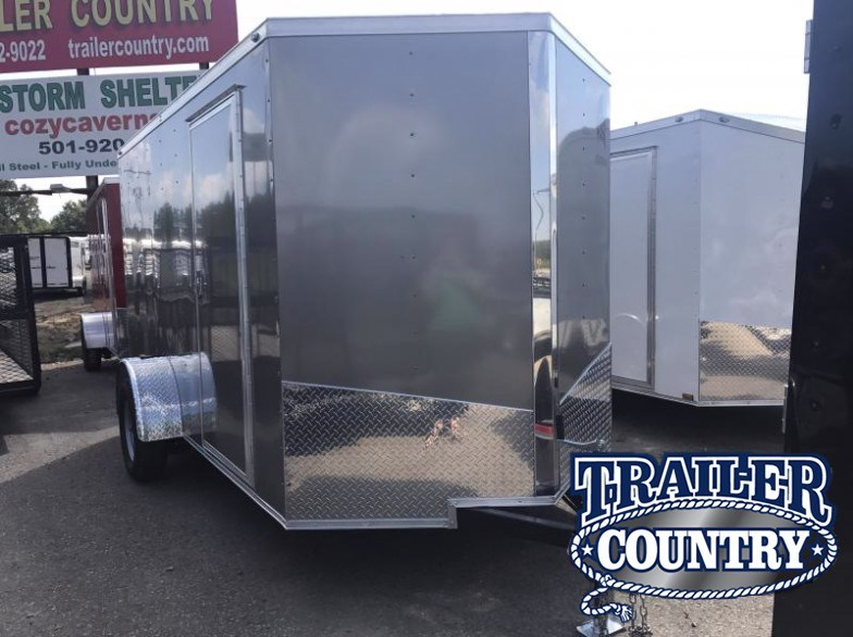 6x12 Enclosed Cargo Trailer-Pewter-Ramp Door