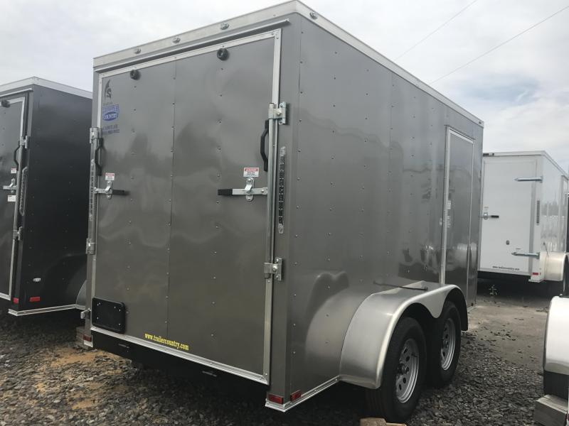 "6x12 Tandem Axle Enclosed Cargo Trailer-Pewter-6'6"" Height-Ramp"