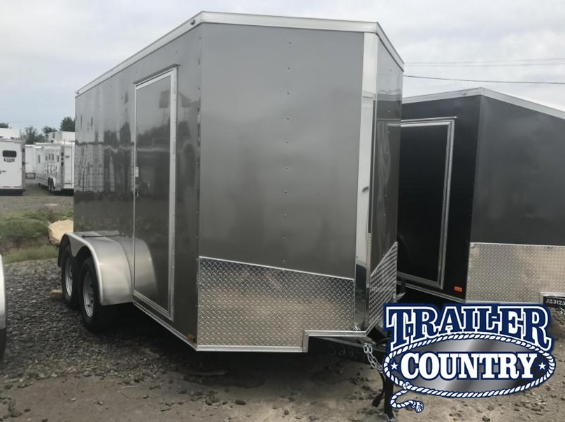 "6x12 Tandem Axle Enclosed Cargo Trailer-Pewter-6'6"" Height-Ramp-CLEARANCE"