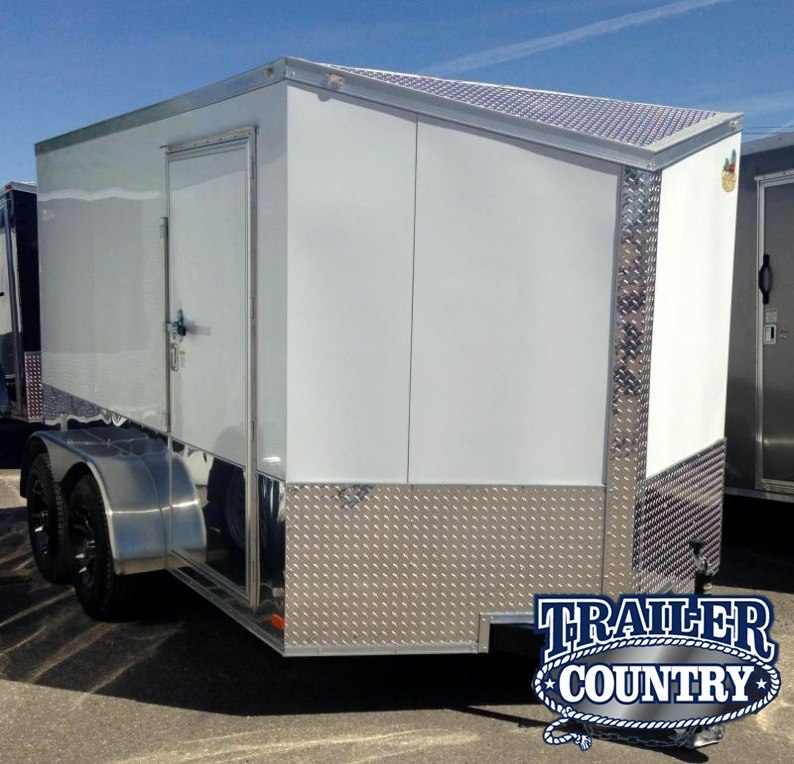 7x12 Enclosed Motorcycle Cargo Trailer-White-CLEARANCE