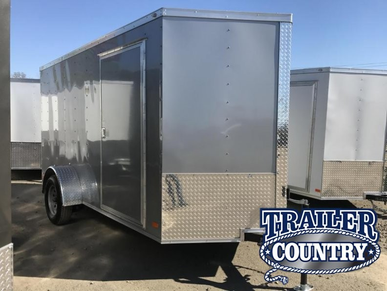 6x12 Enclosed Cargo Trailer-Ramp-Silver