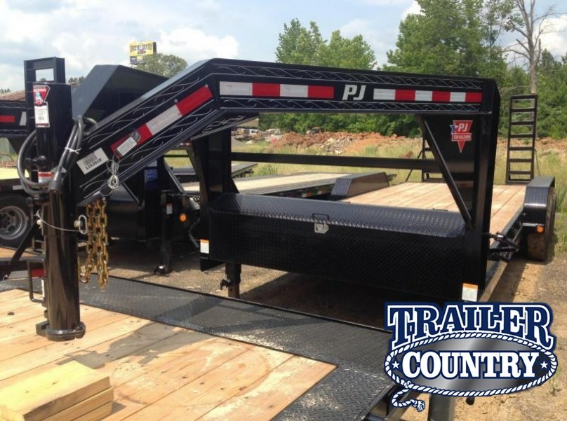 83x20 PJ Gooseneck Equipment Trailer-Fold Up Ramps