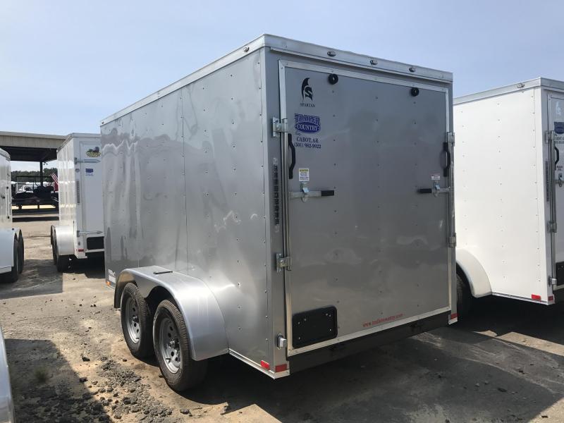 6x12 Tandem Axle Enclosed Cargo Trailer-Silver-Ramp