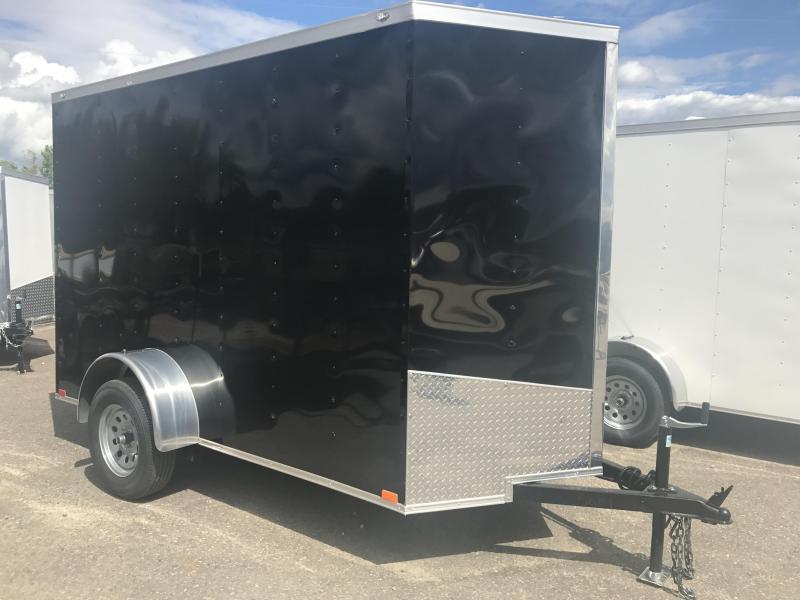 5x10 Enclosed Cargo Trailer-Black-Ramp