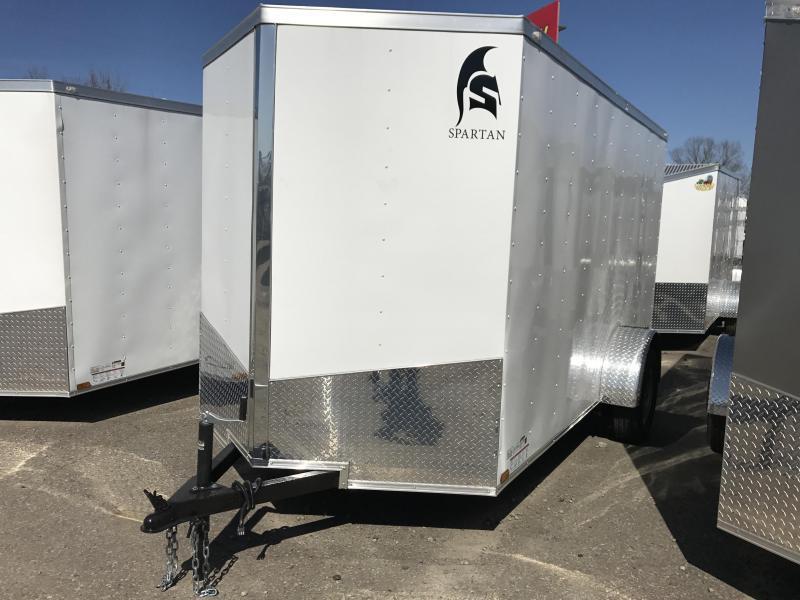 6x12 Enclosed Cargo Trailer-White-Ramp Door