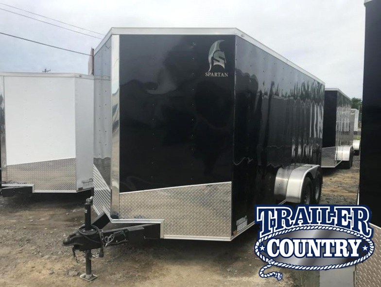 "7x16 Enclosed Cargo Trailer-Ramp-Black-6'6"" Height-CLEARANCE"