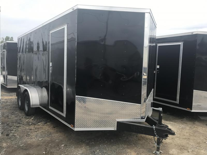 "7x16 Enclosed Cargo Trailer-Ramp-Black-6'6"" Height"
