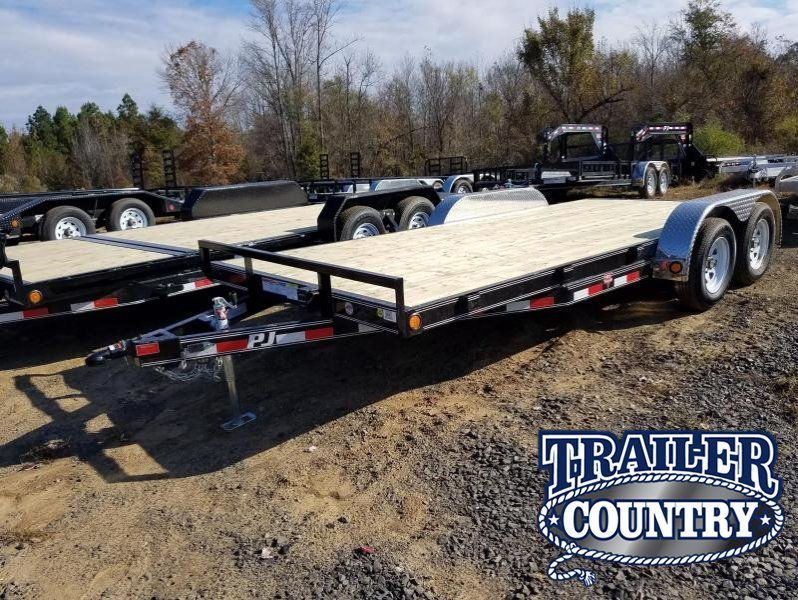 83x18 PJ Carhauler Trailer-3500lb Axles-2' Dovetail-5' Slide In Ramps-Spare Tire Mount