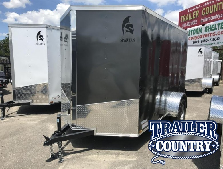 6x10 Enclosed Cargo Trailer-Charcoal-Ramp Door-CLEARANCE