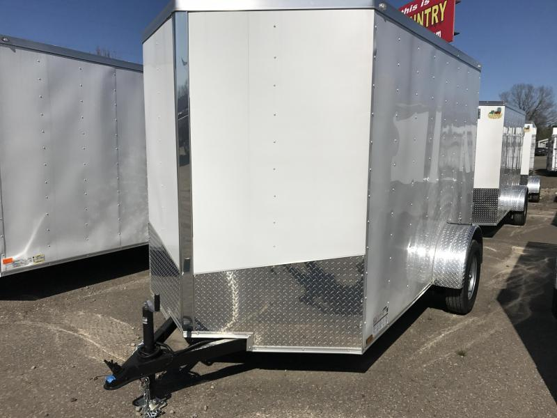 6x10 Enclosed Cargo Trailer-Double Doors-White