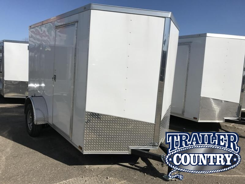 6x10 Enclosed Cargo Trailer-Double Doors-White-CLEARANCE