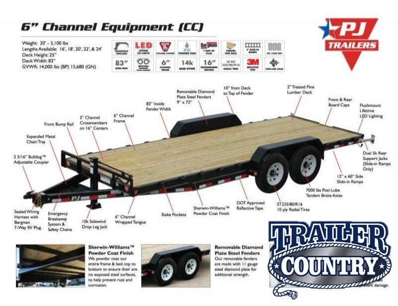 83x20 PJ Carhauler-7K axles Straight Deck Slide in Ramps