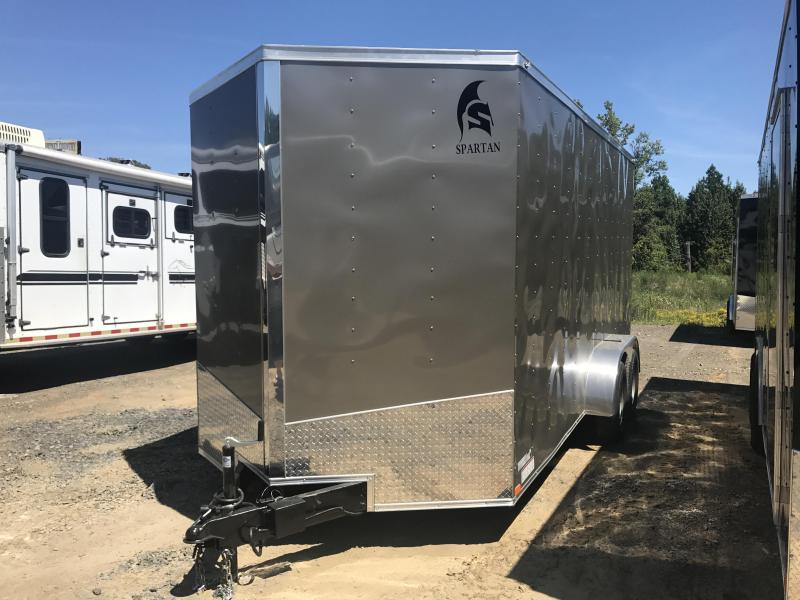 7x16 Enclosed Cargo Trailer-7' Height-Pewter-Ramp