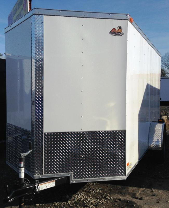 6x12 Enclosed Cargo Trailer-Ramp Door-White-CLEARANCE