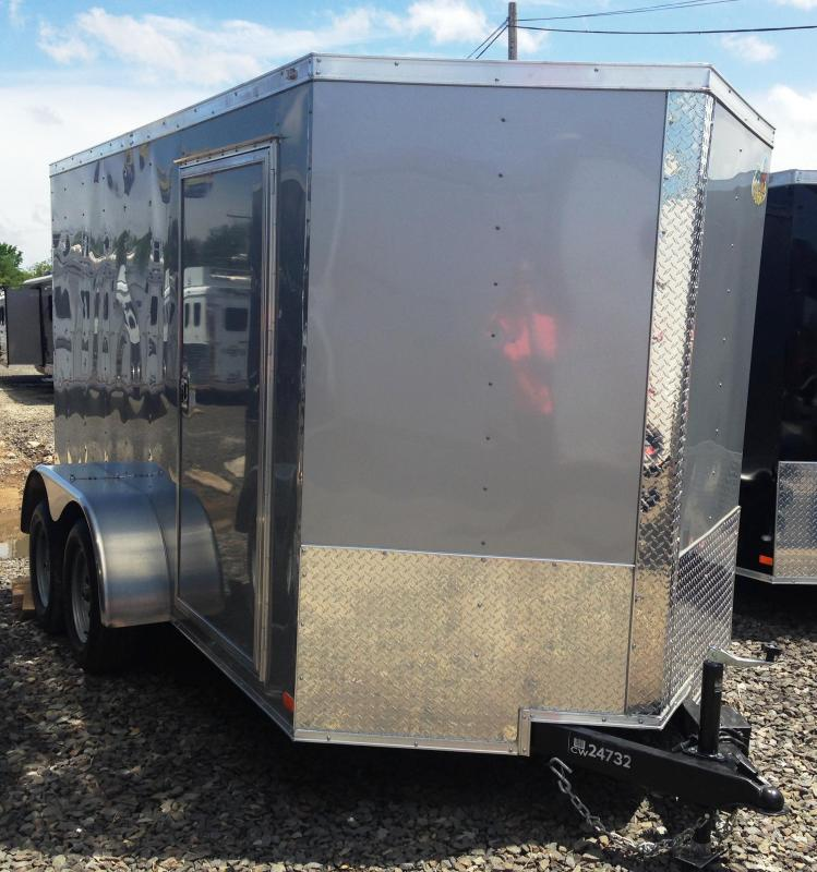 6x12 Enclosed Cargo Trailer Double Doors Silver-CLEARANCE